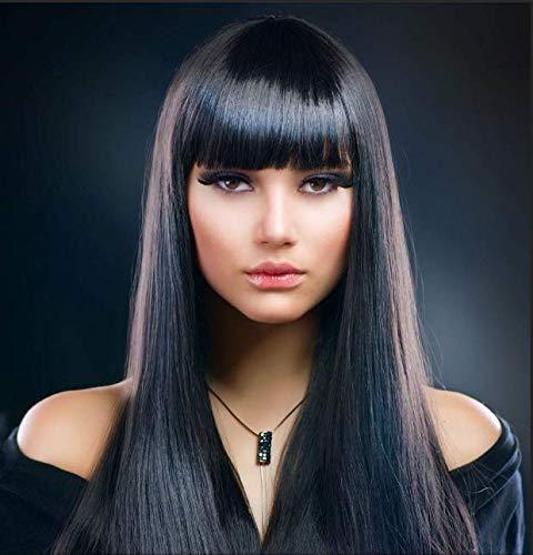 BESTUNG Peluca sintética de 71 cm de largo, color negro o moreno, para mujer, de alta calidad, con flequillo