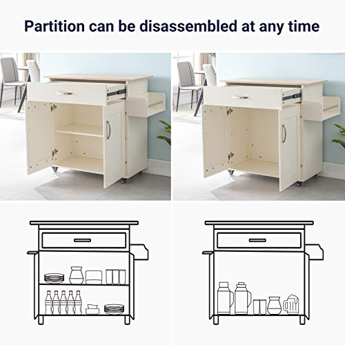 Cozy Castle Kitchen Island on Wheels Kitchen Cart Trolley with Storage, Drawers, Cabinet, Towel Rack and Wood Top Kitchen Cart for Home Hotel Kitchen Dinning Room (White)