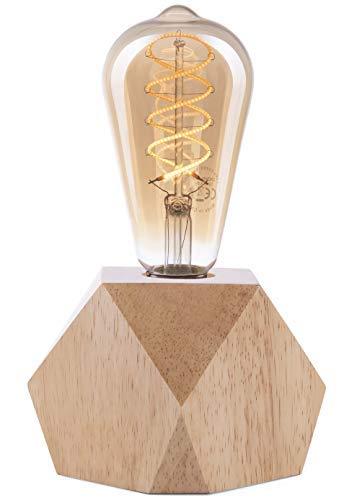 CROWN LED Tischlampe Vintage Batteriebetrieben - Design Tischleuchte aus Holz Farbe Eiche hell E27 Fassung inkl. Retro Edison LED Glühbirne EL17