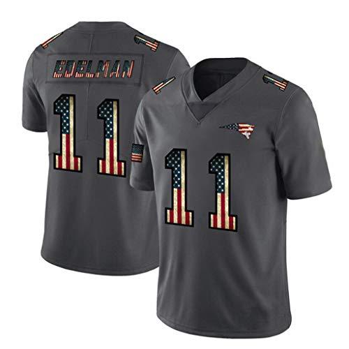 #11 New England Patriots Rugby Trikot Julian Edelman American Football Trikots Retro Carbon Schwarz Outdoor Sport T-Shirt Kurzarm XXXL