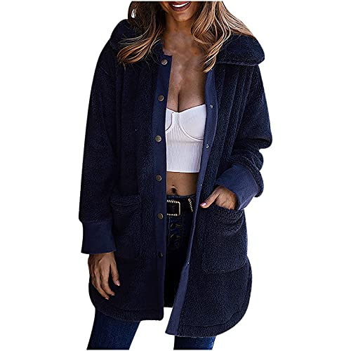 Womne's Flannel Fuzzy Cardigan Open Front Fleece Coat Solid Color Outwear Winter Hooded Jacket with Pockets Navy
