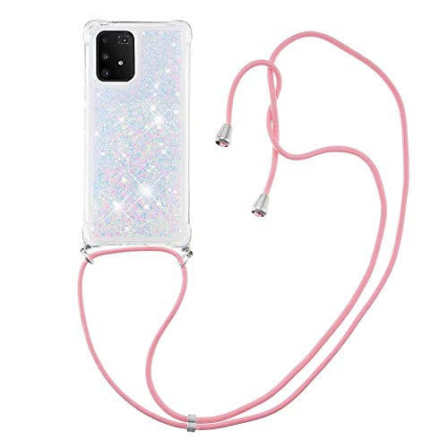 Nadoli Handykette Hülle für Samsung Galaxy S10 Lite,Durchsichtig Glitzer Treibsand Flüssigkeit Silikon Handykordel Necklace Schutzhülle Handyhülle mit Umhängeband