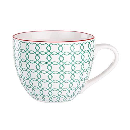 BUTLERS Retro Tasse 550ml - Hellblaue Kaffeetasse Vintage Design – Hochwertige Porzellantasse, Kaffeebecher, Teetasse