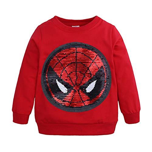 AsKong - Camiseta de manga larga para niño con diseño de lentejuelas, diseño de Spider-Man Capitán América, para 1-8 años de edad