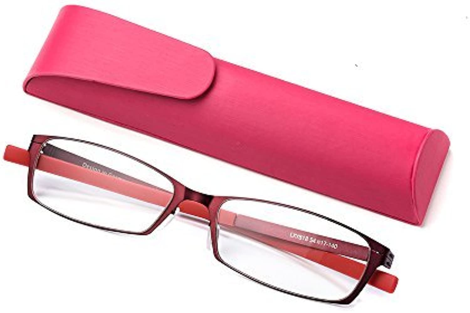 Anti bluee Light Straight Thin Stamped Metal Frame Reading Glasses for Men and Women Readers (red, 2.5)