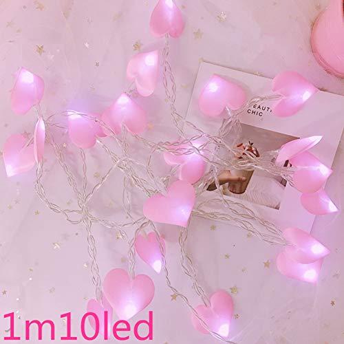 Kerstslinger van de Noel-slinger van het nieuwe jaar van de kerstverlichting voor thuis WSJKHY Love Pink 1 M 10 Lamp Battery