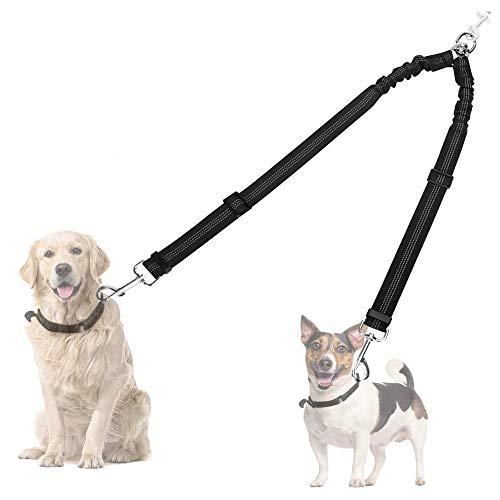 Slowton Correa ajustable de doble perro, giro de 360 ° Sin enredo Rotación Longitud ajustable Reflector divisor de dos dientes de dos patas, cómodo Amortiguador de choque Amortiguador 2 perros caminando y entrenando con facilidad