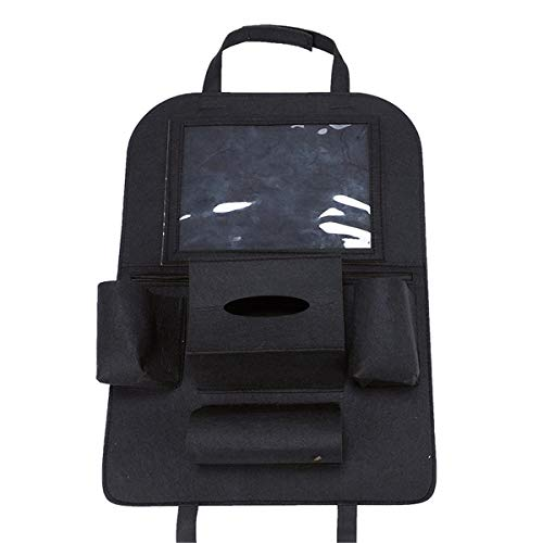 XKMY Organizador para asiento trasero de coche con bolsillo para tablet con pantalla táctil y bolsa de almacenamiento para colgar (color: negro)