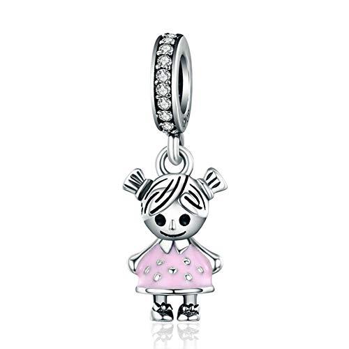 Abalorio para niña de plata de ley 925 con abalorio de cumpleaños para pulsera Pandora (niña)