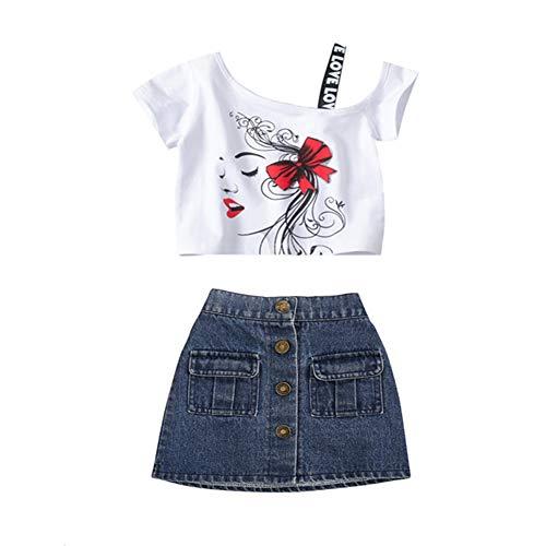 Baby Mädchen Sommerkleidungs-Set, trägerlos, kurze Ärmel, Jeansrock, 2-teiliges Outfit-Set Gr. S, W
