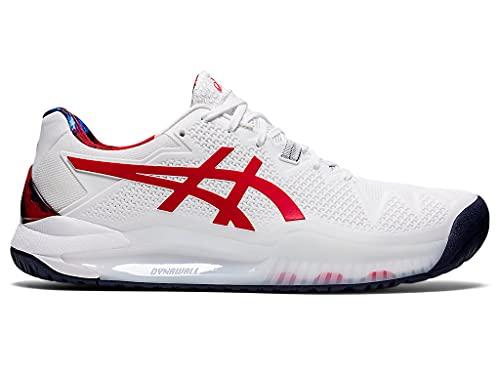 ASICS Men's Gel-Resolution 8 L.E. Tennis Shoes, 10, White/Classic RED