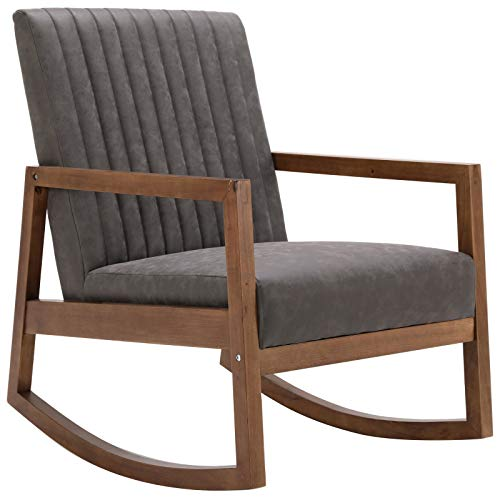 Mid-Century Armchair with Espresso Wood Frames, Faux Leather Upholstered Farmhouse Nursery Chair, for Living Room, Bedroom, Grey