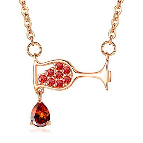 sufengshop Elegant damen wein tasse zirkon halskette glas halskette einfache partei halsketten
