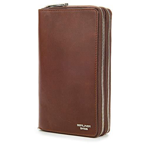 Berliner Bags Premium Dallas Brieftasche Organizer aus Leder Geldbörse für Damen und Herren mit RFID-Schutz (Dunkelbraun)
