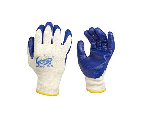 Elaine Karen Deluxe 30 Pairs Cotton Work Gloves - Rubber Coated Gloves with Blue Latex for Superior Grip - String Knit Safety Gloves for Construction, PVC Work, Gardening, and General Purpose