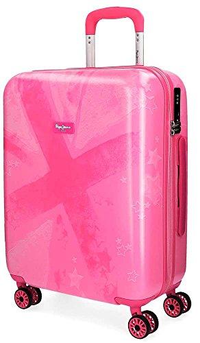 Pepe Jeans Clea Maleta de cabina Rosa 40x55x20 cms Rígida ABS Cierre TSA 38L 3Kgs 4 Ruedas Dobles Equipaje de Mano