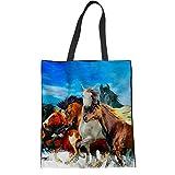 HUGS IDEA Bolsa de hombro de lona bolsa de lino para correr caballo patrón de mujer reutilizable Shopper Bolsas de tela bolso, color Azul, talla M