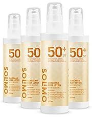 Marchio Amazon - Solimo - SUN - Lozione solare corpo SPF 50+, con vitamina E, antiossidante (4x200 ml)