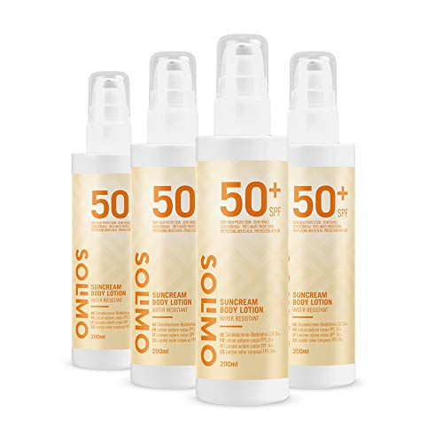 Amazon-Marke: Solimo - SUN - Sonnencreme-Bodylotion LSF 50+, mit Vitamin E, Antioxidant (4x200 ml)