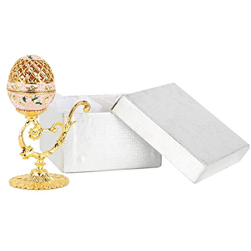 Joyero de Huevo de Pascua, Caja de baratija esmaltada, Caja de Almacenamiento de Adornos con Soporte Dorado para Pendientes, Organizador para el hogar