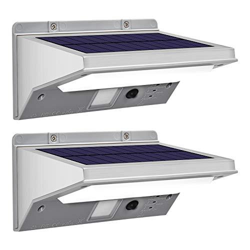 HUOKU Solarleuchten im Freien, Bewegungssensor-Sicherheitsleuchten mit 3 Modi, kabellose wasserdichte Solarwandleuchten aus Edelstahl für Gartenzaun-Patio-Garage, 6500K Cool White (2er-Pack)