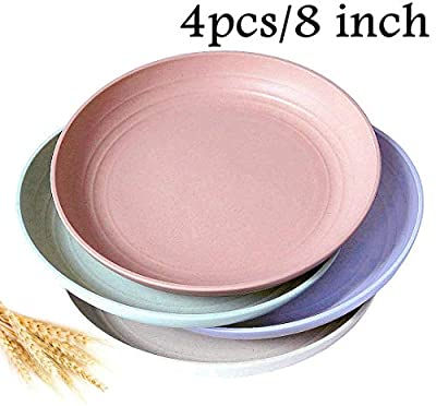 """Wheat Straw Plates - Dishwasher & Microwave Safe Dinner Plate, BPA Free And Healthy Cereal Dishes/ Reusable & Unbreakable Camping Plates, Perfect for Kids- Toddler & Adult (8""""x4pcs)"""