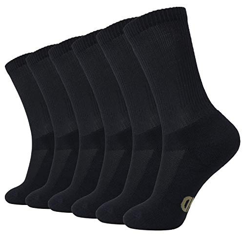 +MD 6 Pack Soft Mens and Womens Bamboo Crew Socks Smell Control Cushioned Dress Casual Socks 6Black10-13