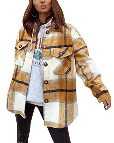 Minetom Damen Oversized Karohemd Hemdjacke Kariert Holzfällerhemd Langarm Hemd mit Brusttaschen Hemdbluse Bluse Shirt D Gelb Medium