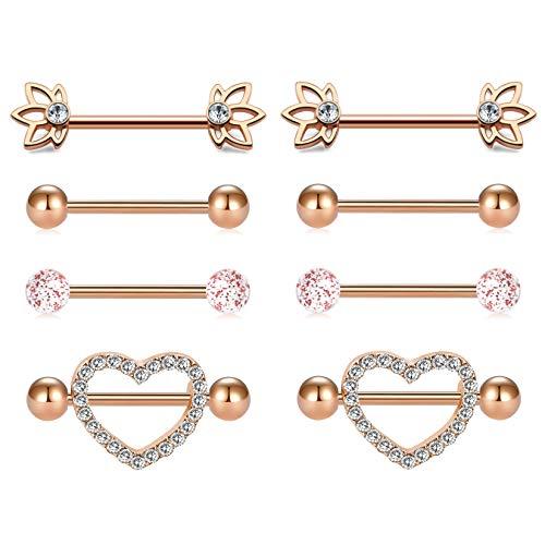 "MODRSA Nipple Piercings Women 14G Stainless Steel Nipple rings Tongue Ring Piercing CZ Heart Shape Rings 5/8"" 16mm Barbell"