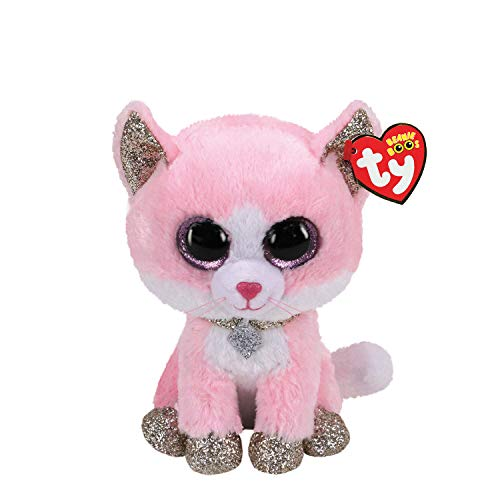 Claire's Official Ty Beanie Boo Amaya The Cat Soft Plush Toy for Girls, Pink, Small, 6 Inch