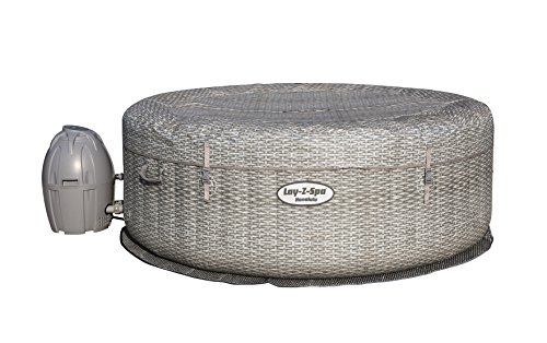 Bestway - Spa gonflable rond motif rotin gris 6 personnes, diamètre 1,96 m