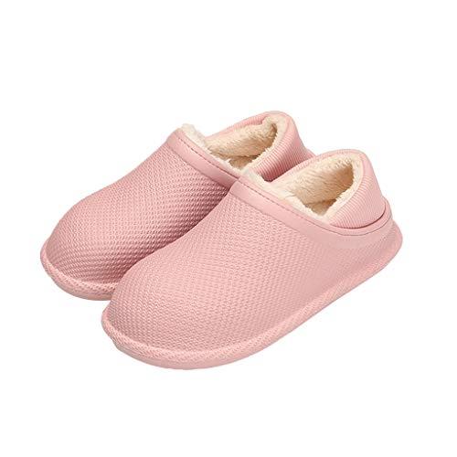 KHUY Pantuflas Invierno Mujer, Zapatillas de Casa Hombre Invierno Exterior Superior de Espuma Viscoelástica Zapatillas Casa Mujer Bota, 6 Colores (Color : Pink, Size : EUR 34-35)