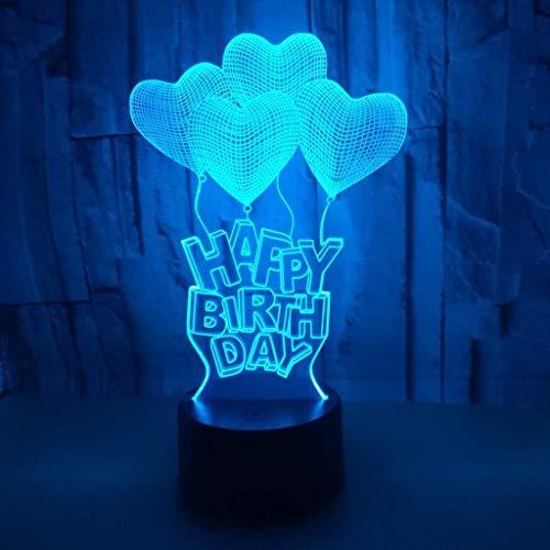 WSJTT Lámpara de escritorio cumpleaños LED colorido gradiente 3D estéreo lámpara de mesa táctil remoto USB noche luz escritorio creativo decoración regalo decoración