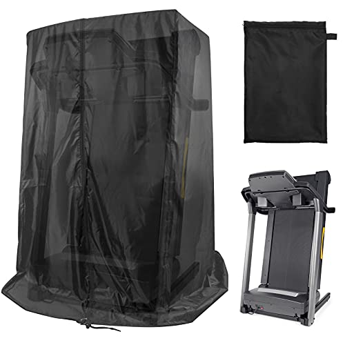 """Black Treadmill Cover 46"""" L x 38"""" W x 66"""" H, Luxiv Dustproof Waterproof Cover for Treadmill Fold-able Cover for Indoor Outdoor Sunscreen Treadmill Cover with Storage Bag"""