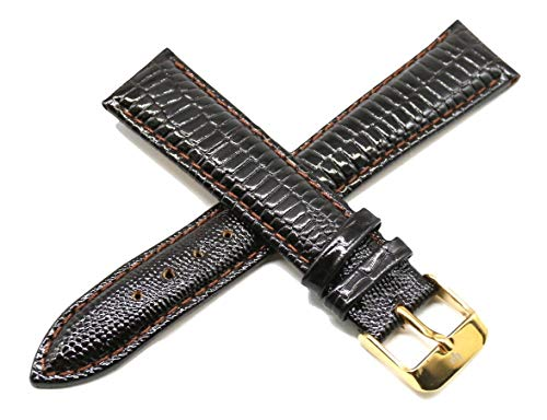 Lucien Piccard 18MM Lizard Grain Genuine Leather Watch Strap Band 7.5 Inches Dark Brown with Gold LP Buckle