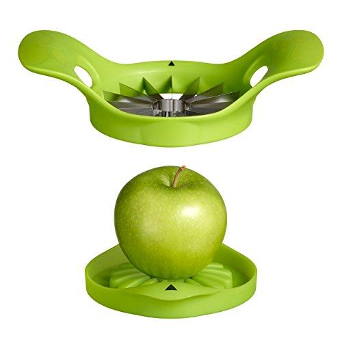 Moha 25214 Coupe-Pommes avec Socle, Plastique/INOX, Vert, 20 x 14,5 x 6 cm