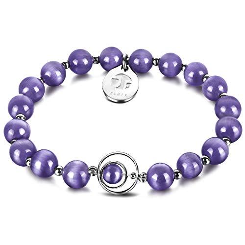 JOXFA Blessing Gem Beaded Bracelet, 8mm Cat Eye Stone Beads Bracelet Handmade Rounds Healing Crystal Gemstone Beads Jewelry Elastic Stretch Charm Bracelets Gift for Women Men Girls (Light Color)