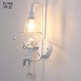 Minimalist Rustic Wall Lamp Bedroom,Living Room,Hallway,Courtyard,Hotel,Bedside Bedroom Bedside Wall Lamp Living Room Creative Children's Room Aisle Staircase Angel Blowing The Horn (H 55Cm)