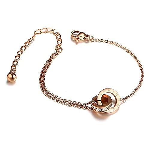 junmo shop Pulsera entrelazada de oro rosa para mujer, pulsera de acero de titanio, joyería personalizada, regalo con incrustaciones de diamantes de imitación brillantes