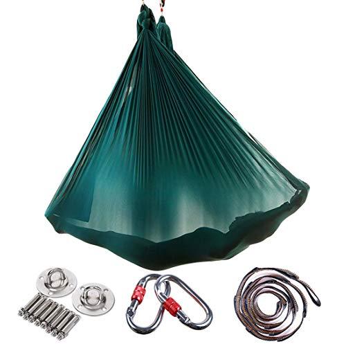 RAOMAL Yoga DIY Silk Pilates Premium Aerial Silks Equipment Aerial Yoga Tuch Aerial Silk elastische Yoga Hängematte mit Stoff Zubehör 5 Meter (Dark Grün)