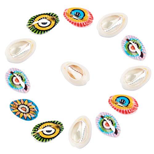 NBEADS 50 cuentas naturales de concha de corie sin taladrar, cuentas de concha de playa, abalorios de concha de mar para hacer joyas de verano, fiesta, decoración del hogar