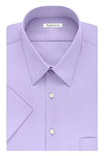 Van Heusen Men's Dress Shirts Short Sleeve Poplin Solid, lavender, 17.5' Neck