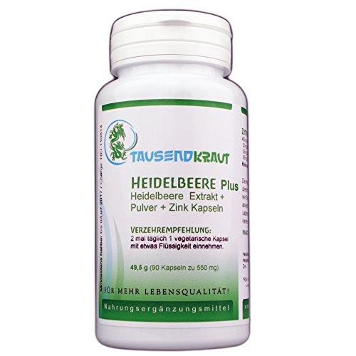 Heidelbeere PLUS - Pulver + Extrakt (90 Kapseln) Nahrungsergänzungsmittel [enthält Zink und Anthocyanodine] Tausendkraut