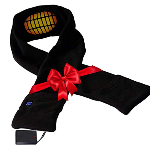 Heated Scarf with Neck Heating Pad - Black Electric Battery Powered Heated Neck Wrap for Men and Women as Warming Scarf with Pockets