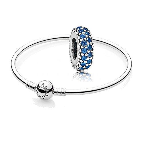 Pandora Original Geschenkset - 1 Silber Armreif 590713-17 + 1 Silber Zwischenelement 791359NCB Blaue Pavé-Inspiration