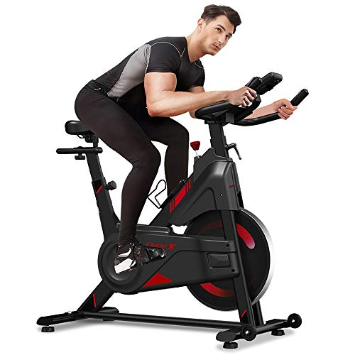 Dripex Magnetic Resistance Indoor Exercise Bike (2021 Upgraded New Version), Super-Silent, Capacity 300 LBS, LCD Monitor, Pulse Sensor, Bottle Holder, Home Gym Stationary Bike (Red)