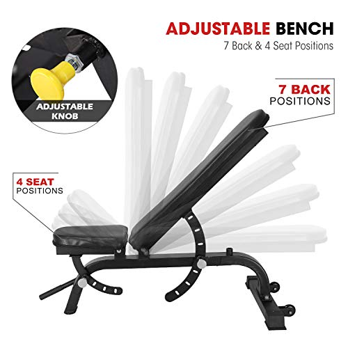 ER KANG Adjustable Weight Bench- 7+4 Positions Body Workout Bench, Multi-Purpose Incline/Flat Bench for Home Gym Strength Training(Black)