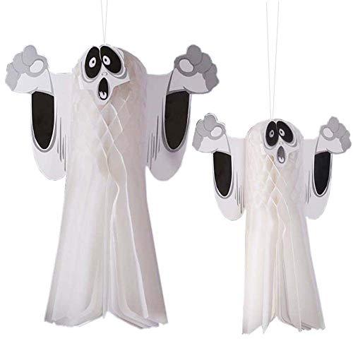 YOUYIKE®2er Pack Halloween Party Dekoration Hängende Geister, niedliche Fliegende Geister für Vorgarten Patio Rasen Garten Party Dekor und Weihnachtsdekorationen (54 * 42cm, 38 * 32cm