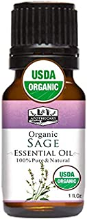 1 fl. Oz / 30 ml Organic Sage Essential Oil, USDA Certified Organic Sage Essential Oil, 100% Pure & Natural Sage Essential...