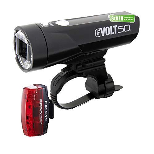 Fahrrad-Beleuchtungskit Cateye GVolt 50, mit STVO Zulassung, (Cateye GVolt 50, Rücklicht Rapid Micro G)
